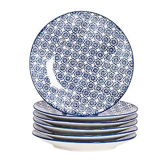 Nicola Spring 6 Piece Hand-Printed Side Plate Set - Japanese Style Porcelain Dessert Bread Plates - Navy - 18cm