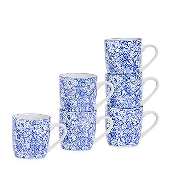 Nicola Spring 6 Piece Paisley Patterned Tea and Coffee Mug Set - Small Porcelain Cappuccino Cups - Navy Blue - 280ml