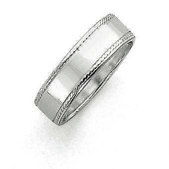 925 Sterling Silver Flat Solid Polished Milgrain Engravable 7mm Design Edge Band Ring - Ring Size: 5 to 12