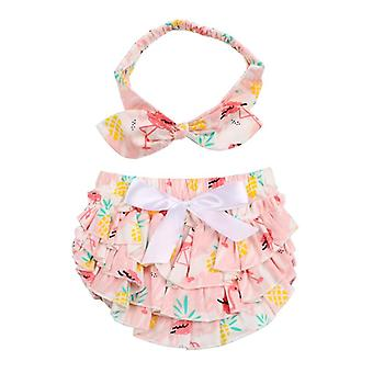 Baby Bloomers And Headband- Flamingo Pattern Bow 100% Cotton Bloomers Ruffle Clothes Diaper Cover Baby Boy / Girls Shorts