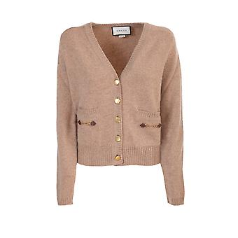 Gucci 628412xkbh92184 Mujer's Beige Cashmere Cardigan