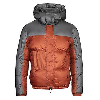 Emporio Armani Two-Tone Nylon Down Quilted Orange Jacket