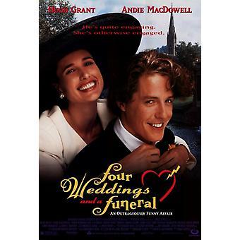 Vier Hochzeiten und ein Begräbnis-Film-Plakat-Druck (27 x 40)