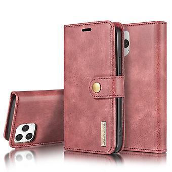 Dg. MING iPhone 12/12 Pro Split Leather Wallet Case - Red