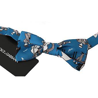 Kék jazz klub selyem állítható nyak papillon férfi csokornyakkendő
