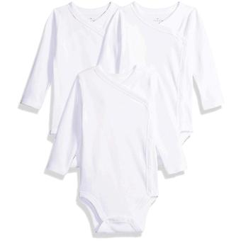 Moon and Back Baby Set of 3 Organic Long-Sleeve Side-Snap Bodysuits, Pink Blu...