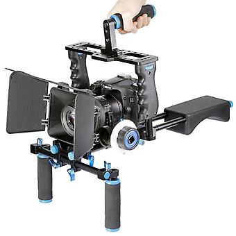YELANGU YLG1103A-A Dual Handles Camera Shoulder Mount + Camera Cage Stabilizer Kit with Matte Box for DSLR Camera / Video Camera