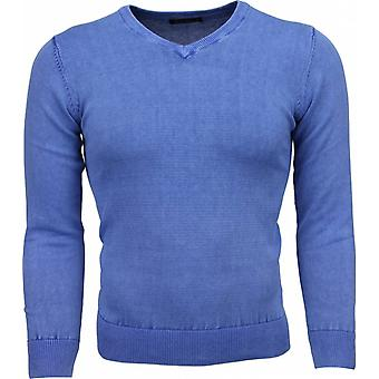Casual Sweater - V-Neck - Blue