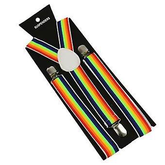 Winfox Unisex Wide Adjustable Y-back Rainbow Striped Suspenders Women