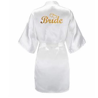 3pc Set Of Glitter Gold Bride Satin Short Bride Robe Slippers Peignoir