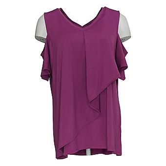 H Par Halston Women's Top Jet Set Jersey V-Neck Cold Shoulder Purple A306606