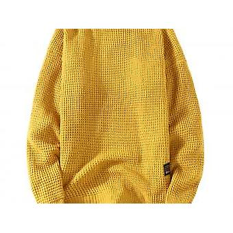Yunyun Mænd's Solid Color Pullover Casual Round Neck Velvet Slim Fit Sweater