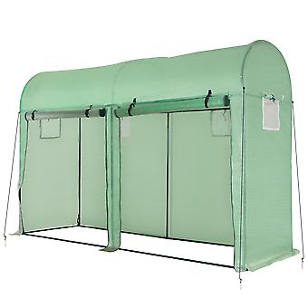 Outsunny Garden Plant Tomato Growth Greenhouse W/ Double Doors & 4 Windows  PE Cover Steel Frame Green, 3L x 1W x 2H (m)
