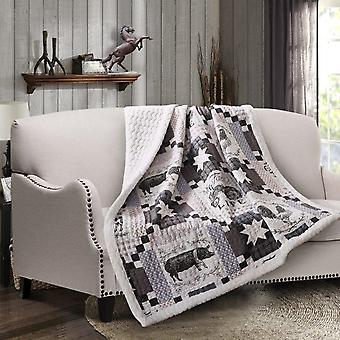 Spura Home Farm Life Printed Quilted Sherpa Throw Blanket sofa Bed