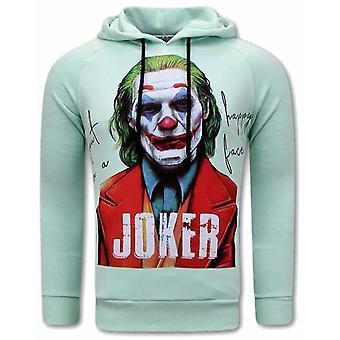 Joker Print Hoodies - Green Mint