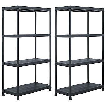 Storage shelves 2 pcs. black 60 x 30 x 138 cm plastic