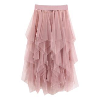 Femei neregulate moda elastic ridicat talie mesh tutu fusta