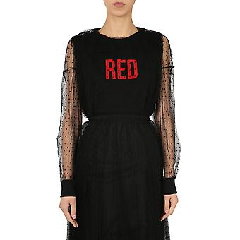 Red Valentino Vr3mg08y5qe0no Women's Black Cotton Sweatshirt