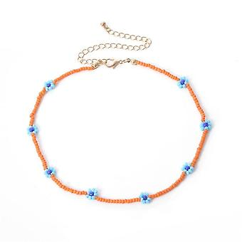 Colorful Seed Bead Flower Choker Short Collar Clavicle Chain Necklace