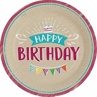 Signs Happy Birthday 22.8 Cm Paper Brown 8 Pieces
