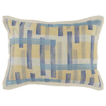 Almohada de lanzamiento de tela con bridas y patrón de rayas impreso, azul y amarillo