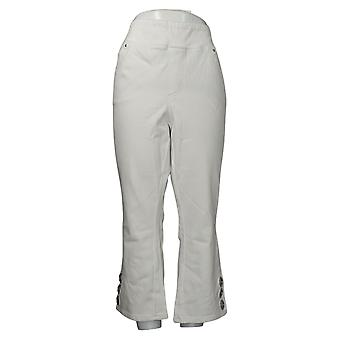 Belle By Kim Gravel Women's Jeans Plus Flared Crop Grommet White A375886