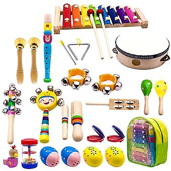 Detské hudobné nástroje, 15 typov 23ks Drevené perkusie Xylophone Toy