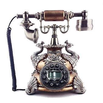 Vintage Vintage Vintage Retro Caller Id Sluchátko Stůl Dřevo Telefon Handfree Brown Pávi (hnědá)
