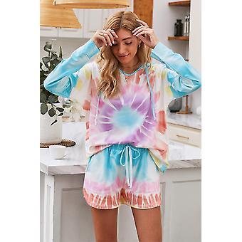 Multicolor Dip Dye Long Sleeve Hooded Lounge Sweatshirt Shorts Set