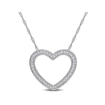 1/4 Carat (ctw I1-I2) Diamond Heart Pendant Necklace in 10K White Gold with Chain