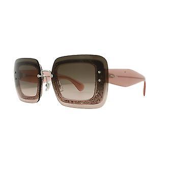 Miu Miu SMU01R UEU/1E2 Transparent Pink Glitter/Pink Gradient Grey Sunglasses