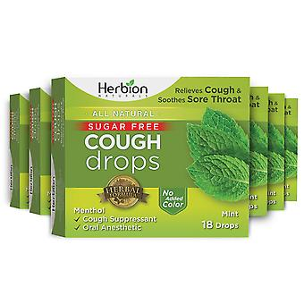 Herbion Naturals Sugar Free Cough Drops with Natural Mint Flavor – 18Ct (Pack of 6)