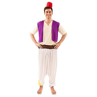 Mens Aladdin Kostym Street Rat Arabian Nights Film Fancy Dress