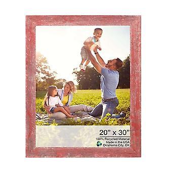"20"" x 30"" Rustic Farmhouse Red Wood Frame"