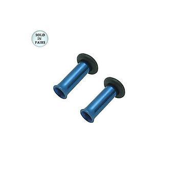 Dark blue anodized titanium tunnel eyelet plug - 8 gauge