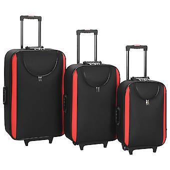 vidaXL Мягкий багажНый комплект тележек 3 шт. Черная оксфордская ткань