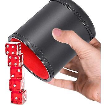 FengChun Wrfelbecher Leder, Wrfelbecher, Schalldichte Lederwrfelschale mit 5 roten Wrfeln Ideal fr