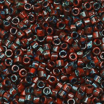 Miyuki Delica Samenperlen, 11/0 Größe, 7,2 Gramm Tube, #2263 Picasso Undurchsichtiger roter Granat Matt