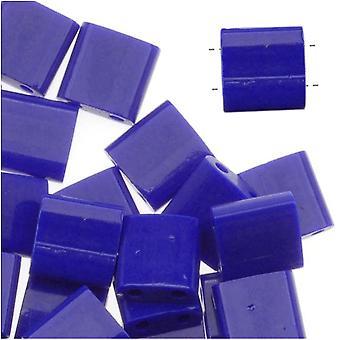 Miyuki Tila 2 Hole Square Beads 5mm Opaque Cobalt 7.2 Grams