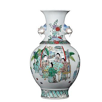 زخرفة فاخرة الصينية العتيقة الملونة اليد رسمت الطاولة مزهرية الخزف الصغيرة