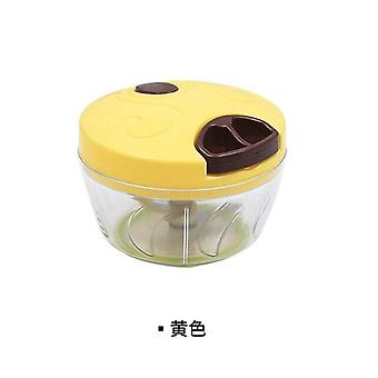 Manual Automatic Cooker Multi Function Meat Grinder Vegetable Cutter Mesh Garlic Press(yellow)