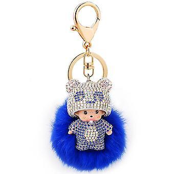 Monchichi Kiki Keychain Key Ring Diamond Crystal Plush Keychain Pendant