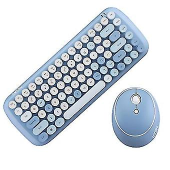Blåt trådløst tastatur og musesæt, regnbue keycap retro punk stil, til computer notebook kontor az23089