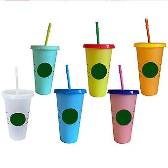 473ml New Travel Straw Cup With Lid With Logo Reusable Cups - White