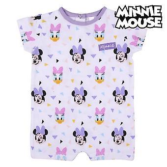 Dětský romper oblek s krátkým rukávem Minnie Mouse White