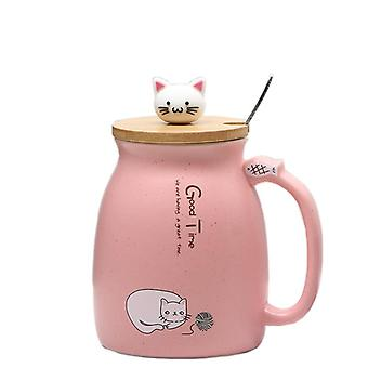 Creative Color Cat Heat Resistant Mug Cartoon With Lid Cup Kitten Coffee(pink)