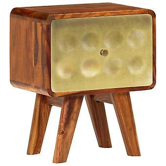 vidaXL nachtkastje massief hout met goudprint 49 x 40 x 30 cm