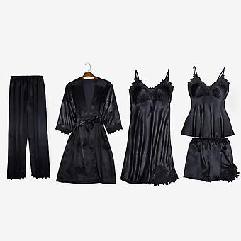 Sexy Lace Stain Women Pajamas Set, Summer Robe Sleepwear With Chest Pads