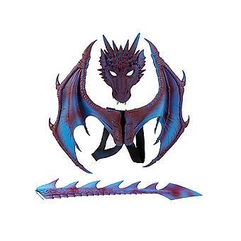 Allthemen Halloween Mardi Gras Costume Cosplay Demon Dragon Wings for Adult,Kids(Wings & Tails & Masks)