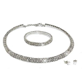 Swarovski Encrusted Necklace With Bracelet And Earrings